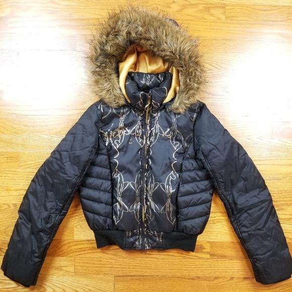 Baby Phat Jackets & Blazers - VTG Baby Phat Puffer Black Gold Winter Jacket